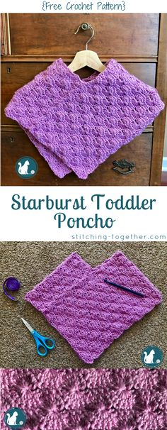 Free crochet pattern for an adorable toddler poncho. Easy to make with two rectangles. You will want to save this crochet toddler poncho.