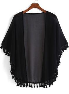 Kimono casual flecos suelto -negro