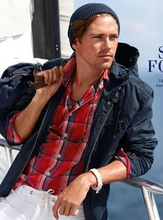Ralph Lauren - The red shirt rocks to a tanned skin, would style it with blue chinos
