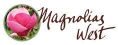 The new Magnolias West homegrown, handmade logo.