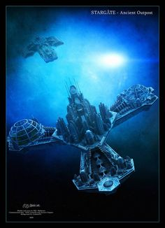 Stargate - Ancient Outpost by Mallacore on DeviantArt Stargate Ships, Stargate Atlantis, Stargate Universe, Marvel Universe, Sci Fi City, Starship Concept, Sci Fi Tv Shows, Space Battles, Fantasy Art Landscapes