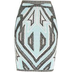Herve Leger Ola Geometric Jacquard Skirt (£670) ❤ liked on Polyvore