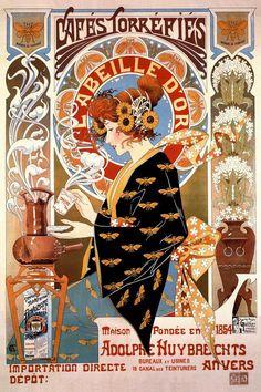 Art Nouveau T. Privat Livemont, Coffee Poster, France, n. Art Nouveau Poster, Poster Art, Kunst Poster, Art Deco Posters, Room Posters, Poster Prints, Posters Vintage, Vintage Advertising Posters, Vintage Advertisements