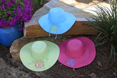 Monogrammed sun hats from Initial Outfitters. So southern!  From Initial Outfitters  Tara Griffith, Consultant