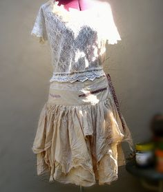 Funky Tattered Pixie Skirt Eco Fashion Ecru Cotton Skirt Bohemian Gypsy on Etsy, 438:89kr