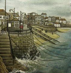 www.facebook.com/juniperartworks st ives, cornwall, harbour, south west, coast, swcp, port, seaside, watercolour, illustration