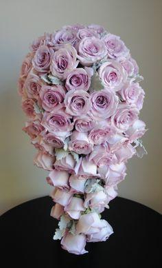 Blue moon roses dusty miller Teardrop bouquet