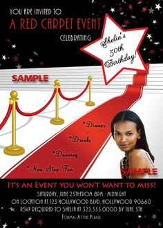 Hollywood Red Carpet Style ´Starring You´ Birthday Party Style 2 Hollywood Birthday Parties, 25th Birthday Parties, Sweet 16 Birthday, Special Birthday, 10th Birthday, It's Your Birthday, Birthday Celebration, Birthday Party Themes, Birthday Ideas