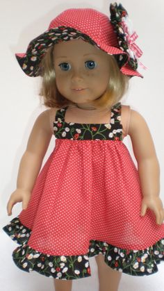 RED+&+BLACK+CALICO+Sun+Dress++fits+American+Girl+by+dollupmydoll,+$20.00