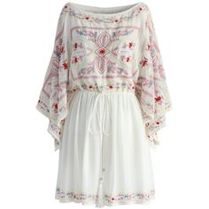 Chicwish Brilliant Boho Embroidered Dress in White ($59) ❤ liked on Polyvore featuring dresses, white, white beach dresses, kimono sleeve dress, tassel dress, embroidery dresses and bohemian dresses