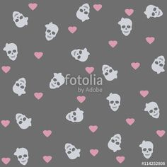 "Baixe a foto royalty free ""Seamless with hearts and skulls."" criada por…"