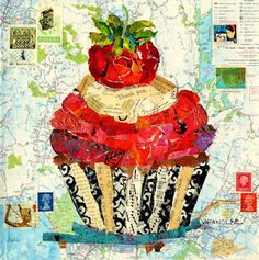 California Cupcake 12078 hand painted paper, California map background, vintage book pages, stamps, and some dried paint from my palette. Nancy Standlee Art Blog