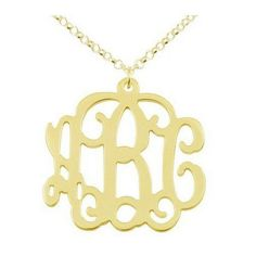 18K Gold Over Sterling Silver Open Monogram Initial Necklace Pendant ($56) ❤ liked on Polyvore