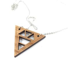 Geometric Necklace. Laser Cut Wood Triangle by BirchStreetStudio15