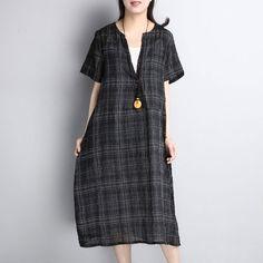 Women Retro Loose Lattice Casual V Neck Black Dress