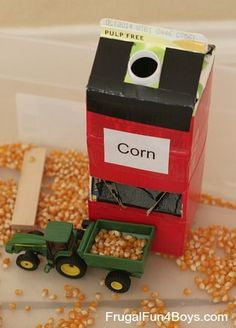 """Sensory Play Activity for Preschoolers """"Grain silo"""" for farm sensory bin/ tractor loading. Made with milk container, cereal box and duct tape""""Grain silo"""" for farm sensory bin/ tractor loading. Made with milk container, cereal box and duct tape Farm Activities, Preschool Themes, Toddler Activities, Preschool Activities, Preschool Farm Crafts, Farm Animal Crafts, Farm Sensory Bin, Sensory Boxes, Sensory Play"""