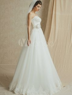 Strapless A-Line Court Train Wedding Dress with Sash ( Veil & Accessories are Excluded ) - Milanoo.com