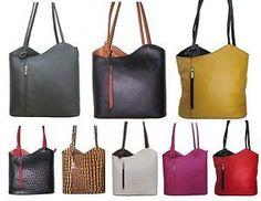 Schultertasche Hand-Tasche als Rucksack tragbar Umhängetasche in Echt-Leder | eBay