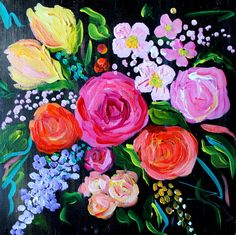 NEW! Abstract Flower Painting, Wedding bouquet, Fine Art PRINT, Giclee reproduction, Colorful Flowers, PInk and yellow roses
