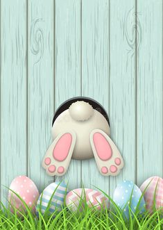 happy easter wallpaper phone wallpapers Easter motive, bunny bottom and easter eggs in fresh grass on blue wooden backgr , Easter Bunny Pictures, Cute Easter Bunny, Easter Art, Hoppy Easter, Easter Crafts, Easter Eggs, Ostern Cartoon, Happy Easter Wallpaper, Easter Cartoons