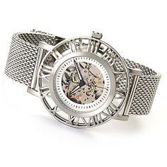 619-167 - Adee Kaye Men's Automatic Skeletonized Stainless Steel Bracelet Watch