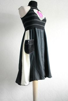 Upcycled Black Dress,i'd like it better minus the pink and white heart
