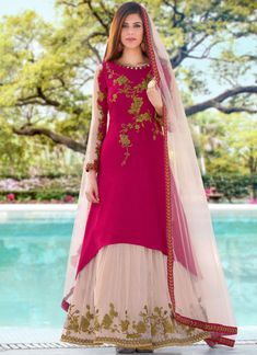 buy online Dark Pink & White colour Crep Silk fabric designer Anarkali suit at joshindia Designer Anarkali, Designer Salwar Kameez, Robe Anarkali, Costumes Anarkali, Silk Anarkali Suits, Lehenga Choli, Bridal Lehenga, Blue Lehenga, Silk Lehenga