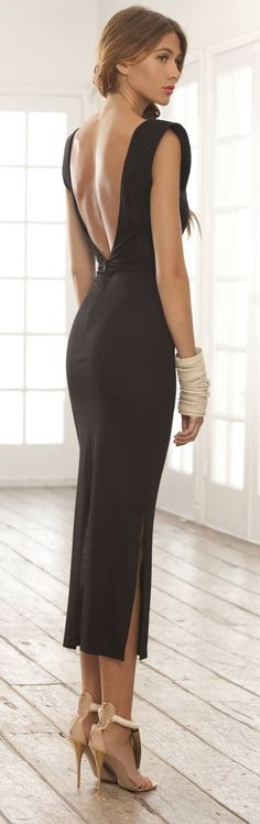 Black Cocktail Sheath Maxi Dress