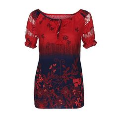 ae318ab099d4 Casual Women Short Sleeve V-Neck Lace Plus Size Lace Tops Loose T-Shirts  Blouses