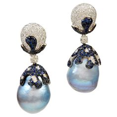 Fabulous Baroque Blue Pearl Sapphire Diamond Earrings | From a unique collection of vintage drop earrings at https://www.1stdibs.com/jewelry/earrings/drop-earrings/