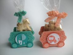 Adorable circus animal treat boxes for DIY baby shower or toddler birthday party! Made with the Stampin' Up! Zoo Babies and Chalk Talk stamp sets.  Video tutorial at suestampfield.com