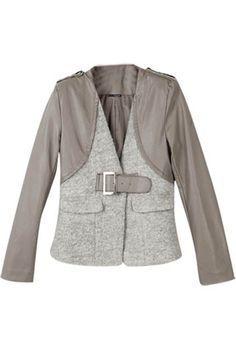 sweatshirt jacket refashion | leather and sweatshirt