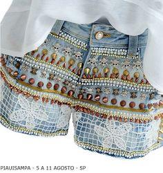 short customizado de pedrarias | Peça da Moreht é destaque no Guia Jeans Wear