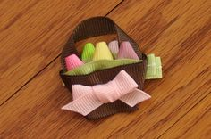 Ribbon Eggs in an Easter Basket Hair Clip $5.00