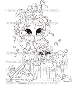 Mayde's Puppy Bathtime by Heather Valentin/Lacy Sunshine Stamps ©All rights  reserved.