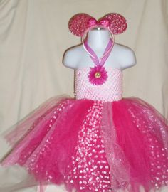 Minnie Mouse Themed Tutu Dress In Pink Polka by LiseFashionDesigns, $35.99