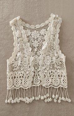 White Tassel Hem Hollow-out Vest