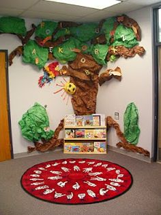 This reading center is very inviting and could easily be maintained throughout the year. I would add a few more book shelves to this but I love the idea of having a paper tree in the corner of my classroom. 6882