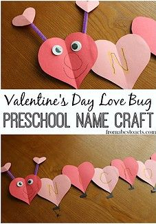 Preschool love bug Valentine's Day craft that lets your child practice the lette. Preschool love bug Valentine's Day craft that lets your child practice the letters in their name! Valentine Name, Kinder Valentines, Valentines For Kids, Saint Valentine, Valentine Makeup, Printable Valentine, Homemade Valentines, Valentine Wreath, Valentine Ideas