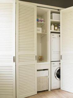 Bathroom closet door ideas mud rooms Ideas for 2019 Laundry Doors, Laundry Closet, Laundry Storage, Laundry Tips, Linen Storage, Laundry Room Bathroom, Small Laundry Rooms, Remodel Bathroom, Louvre Doors