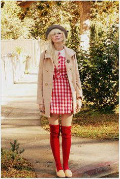 Stratwberry gardening weekly theme on Indie Fashion, Pink Fashion, Skirt Fashion, Knee Socks Outfits, Chic Outfits, Fashion Outfits, Classy Girl, Daily Dress, Retro Dress