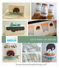 Little Peanut Sip and See | Clear and Simple Stamps | Baby Shower | Elephant Theme Shower | Party Favor 3 | Party Favor 4 | Stamped Onesies | Peanut Cupcakes | Elephant Banner | Onesie Decorating