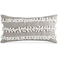 "Bar Iii Pom Pom Stripe 10"" x 20"" Decorative Pillow (260 CNY) ❤ liked on Polyvore featuring home, home decor, throw pillows, beige, beige throw pillows, striped throw pillows, bar iii, embellished throw pillows and cream throw pillows"