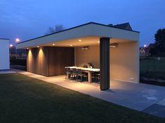 Modern Pool House, Modern Pools, Backyard Patio Designs, Diy Patio, Diy Terrasse, Backyard Kitchen, Container House Design, Outdoor Pergola, Pool Houses