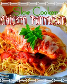 Easy, Cheesy, Slow Cooker Chicken Parmesan | Mom On Timeout - Easy AND Delicious!  The perfect weeknight meal!