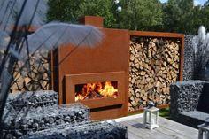 cheminée extérieur en acier corten et murettes gabion