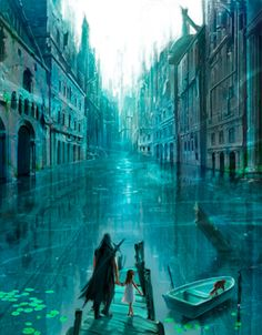 This gave me a really, really cool idea for the mermaids - what if they live in like a submerged city sort of area like this? Except, you know, less modern lol