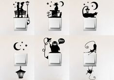 This listing is for Light switch Vinyl Decal SET OF SIX different light switch decorations Set includes six different decals for six switch plates. Choose one color. Each decal suits wide light switch plate. If you would like some other size, plea Simple Wall Paintings, Creative Wall Painting, Wall Painting Decor, Creative Walls, Diy Wall Art, Diy Wall Decor, Wall Art Designs, Paint Designs, Wall Design