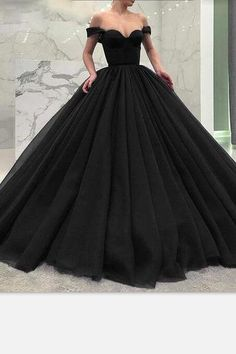 05e3785b33a Off-the-shoulder Black Prom Gown with Puffy Tulle Skirt