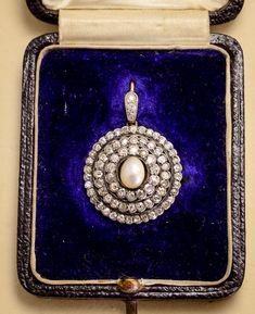 Mid-Victorian Pearl & Diamond Halo Pendant